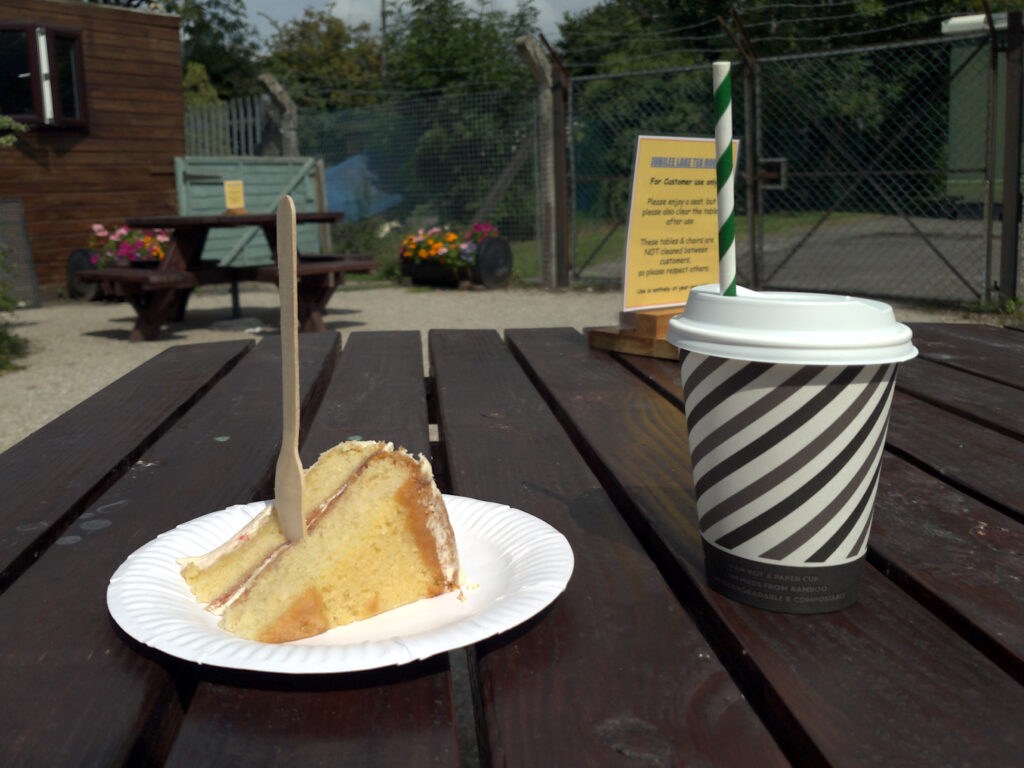 Photo of a cup of iced tea and a slice of cake